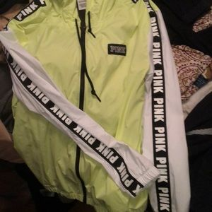 Neon yellow pink windbreaker